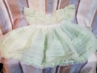 Vintage Infant Baby Sheer Green Dress With Bonnet