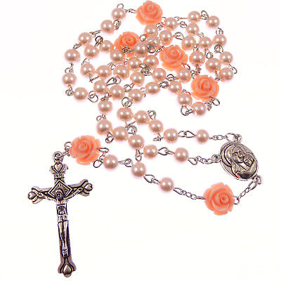 Pale pink roses rosary beads Madonna & child centre and rose flower pater beads