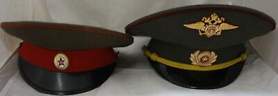 2 x Soviet USSR Russian Military Army Officer Visor Hats Caps - 212
