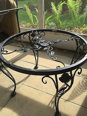 Woodard Chantilly Rose wrought iron 2 ft round side table original finish 1 of 2