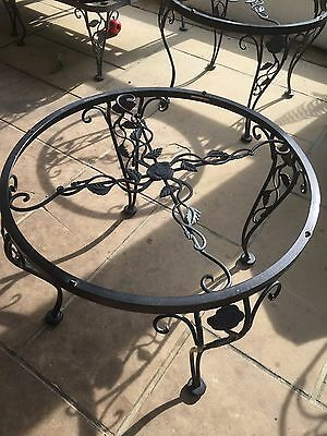 Woodard Chantilly Rose wrought iron 2 ft round side table original finish 2 of 2