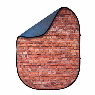 Fovitec StudioPRO -1.5x2m  Blue/Red Brick 2 Sided Pop-Out Muslin Photo Backdrop