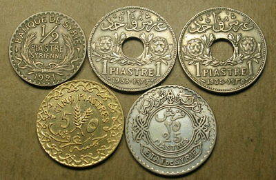 Syria 1921 1/2 Piastre, 1933 and 1935 1 Piastre, 1926 5 Piastres, and 1929 25 P
