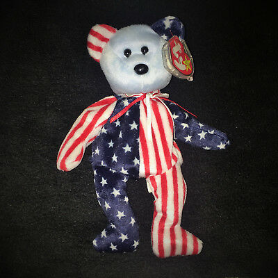 "Rare Retired Original TY Beanie Baby Red, White & Blue ""Spangle"" 1999 w/Tags"