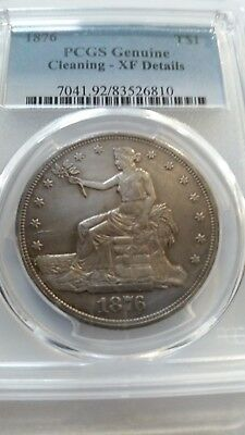 1876 TRADE SILVER  DOLLAR $1 PCGS Genuine Cleaning XF Details