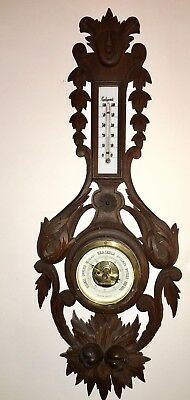 FRENCH ANTIQUE CARVED OAK WOOD BLACK FOREST BAROMETER THERMOMETER XIXth