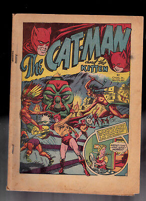Catman Comics 10 coverless missing Center Fold Raymond Miller coll