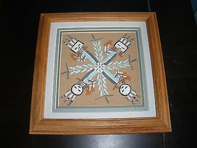 """AUTHENTIC NAVAJO  SANDPAINTING 9"""" x 9"""" MATTED, FRAMED Signed"""
