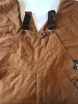 DICKIES INSULATED BROWN DUCK SANDED DUCK BIB OVERALLS- size XL-S New
