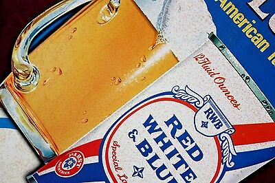 ** Vintage Antique Advertising Red White Blue Beer Sign Display Pabst Brewing **