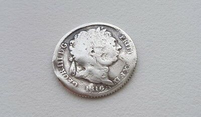 1816 Sixpence George III .925 Silver British Penny 6d Coin.