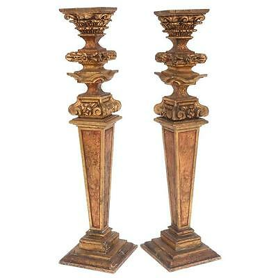 Pair of Monumental Louis XVI Provincial 18th Century Style Pedestals in Giltwood