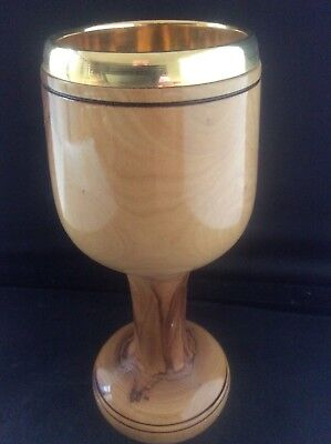 Handmade Wooden Cup Goblet Chalice Hand Made Exotic Wood Turned Treen MetalLiner