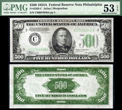 1934A *PHILLY District* $500 FRN Five Hundred Dollar Bill PMG AU53EPQ STUNNING!