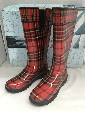 b19b47e562 BOGS NORTH HAMPTON Plaid Red Insulated Tall Rain Boots Sz 6 - $49.95 ...