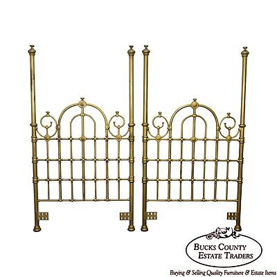 Victorian Style Gold Gilt Metal Pair of Twin Poster Bed Headboards