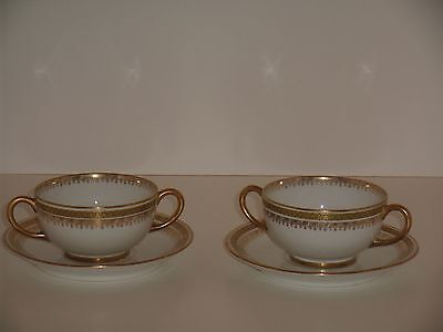 JPL Jean Pouyat Limoges  Ivory w/Gold Gilt Double-handled Cup & Saucer- 2 sets