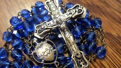 Vintage Antique Blue Glass  Rosary  Religious Medal Ornate Crucifix  Lot #32