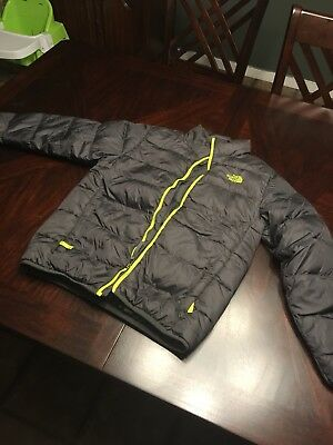 Boys THE NORTH FACE Puffer Coat Jacket Large 14/16 Gray/Neon