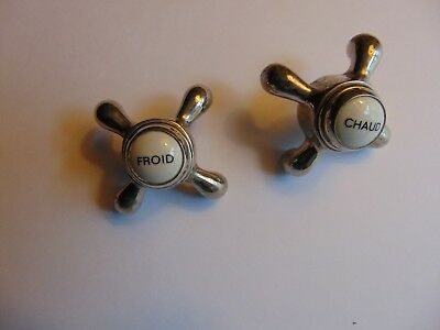 Vintage French Brass & Enamel Sink Tub Shower Faucet Handles Chaud Froid