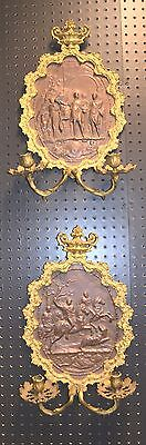 Antique Brass and Bronze Wall Sconces Pair