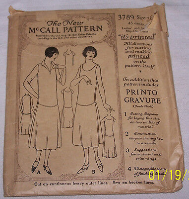VINTAGE 1920'S NEW McCALL DRESS SEWING PATTERN #3789 - SZ 36