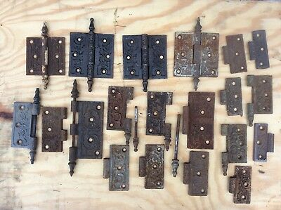 Antique Eastlake Cast Iron Steeple Tip Door Hinges Victorian Lot FREE SHIPPING