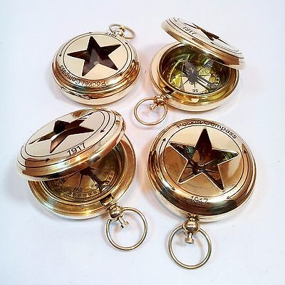 Lot Of 4 Pcs Collectible Vintage Brass Push Button Pocket Compass Maritime Gift