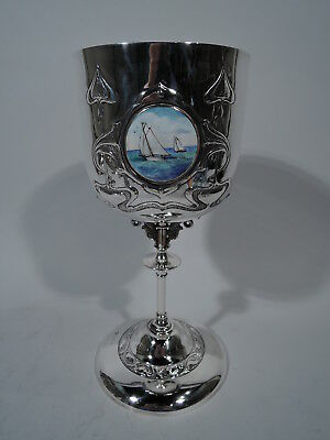 Edwardian Goblet - Antique Art Nouveau Nautical - English Sterling Silver Enamel