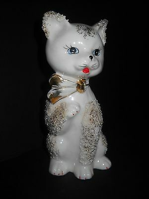 """White Cat Figurine Porcelain With Gold Accents 6 1/4""""  Vintage 1950's"""