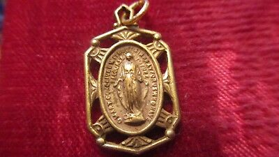 Vintage Antique Brass Ornate Miraculous  Religious Medal   Lot A-1