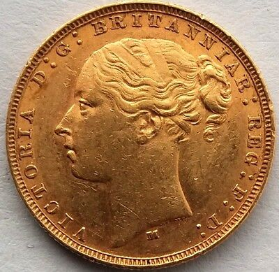 1881 Gold Sovereign Victoria Young Head (Melbourne Mint)