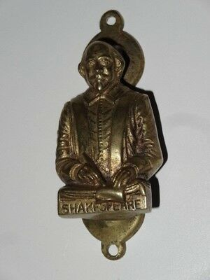 Antique Vintage Victorian Solid Brass Figural Door Knocker Shakespeare Poet