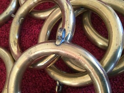 Vintage / Art Deco - Heavy Duty Large Antique Brass Curtain Rings X 11