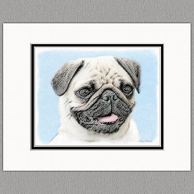 Pug Dog Original Art Print 8x10 Matted to 11x14
