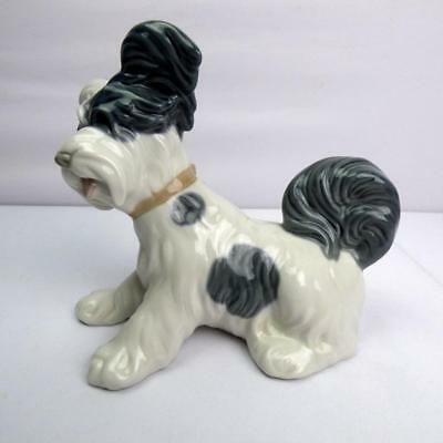 "Lladro Figurine ""Skye Terrier"" 4643 Gray & White Puppy Dog - ( MINT CONDITION )"