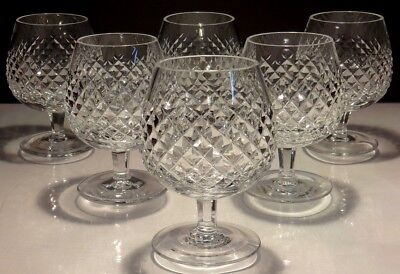 6 Waterford Crystal Alana Brandy Snifter Glasses  ~ Marked