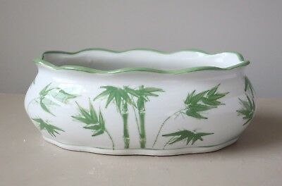 Vintage Ceramic Planter Pot Jardiniere Green & White Bamboo Design Asian Style