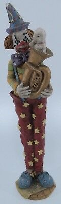 "Damaged - Vintage Hand Painted 9"" Ceramic CLOWN Figurine Colorful Retro"