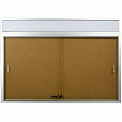 48 X 36 Inches Indoor Cork Board For Wall, Includes Separate Header Area, Glass