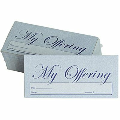 My Offering - Church Tithe/Donation Envelopes Blue, Simple Design, Easy-open &