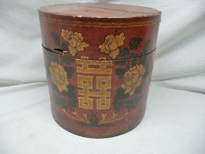 Antique Hand Painted Japanese Caddy Firkin Tea Spices As Offered