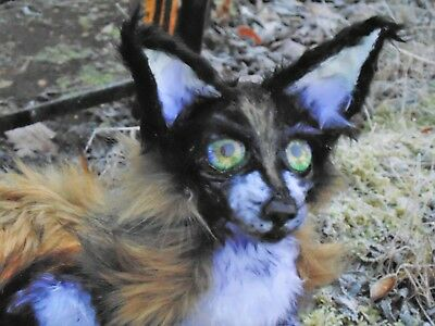 OOAK Fox Wolft Dog Posable Handmade Art Doll Toy with Fake fur