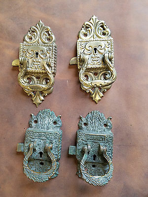 Antique Ice Box Hardware Door Handles/Latches (Some Eastlake Style) 4 Pieces