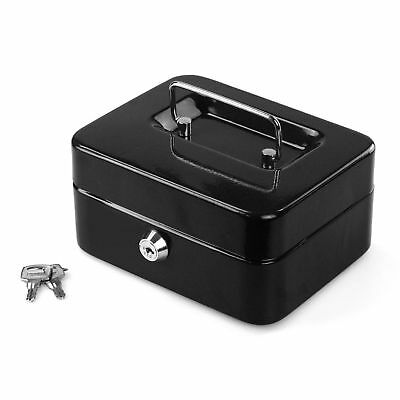 "8""Inch Small Key Lock Petty Cash / Piggy Bank Money Box Pot Safe Lockable -Black"