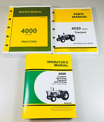 Service Manual Set For John Deere 4020 4000 Tractor Technical Parts