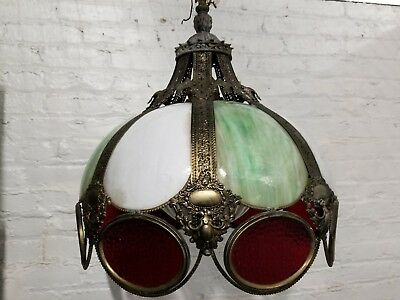 Gorgeous Antique Stained Glass Brass Victorian Hanging Parlor Lamp Shade Buy Now