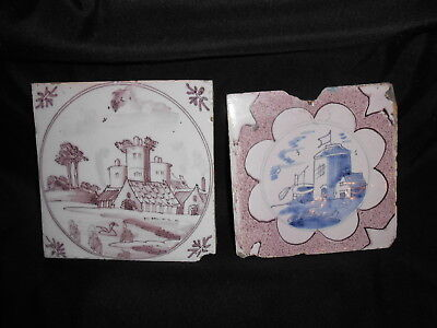 (2) Antique Dutch Delft Tiles Architecture Manganese Decorated As Is 1780-1820