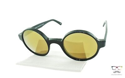 Andy Wolf Sunglasses Columbo F Polished Black Round Frame / Gold Mirror Lenses