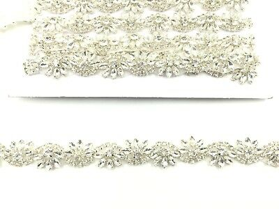 Rhinestone Bridal Belt Wedding Dress Sash Diamante Applique Trim 11''X2.3Cm